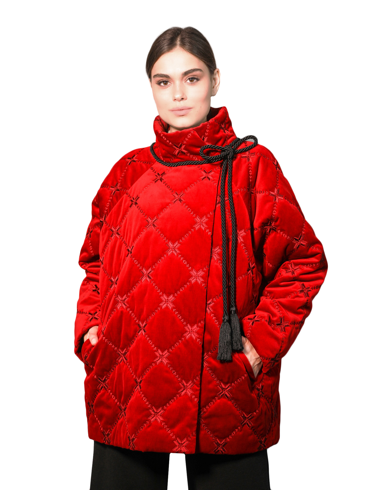 Velvet bomber jacket with embroidery