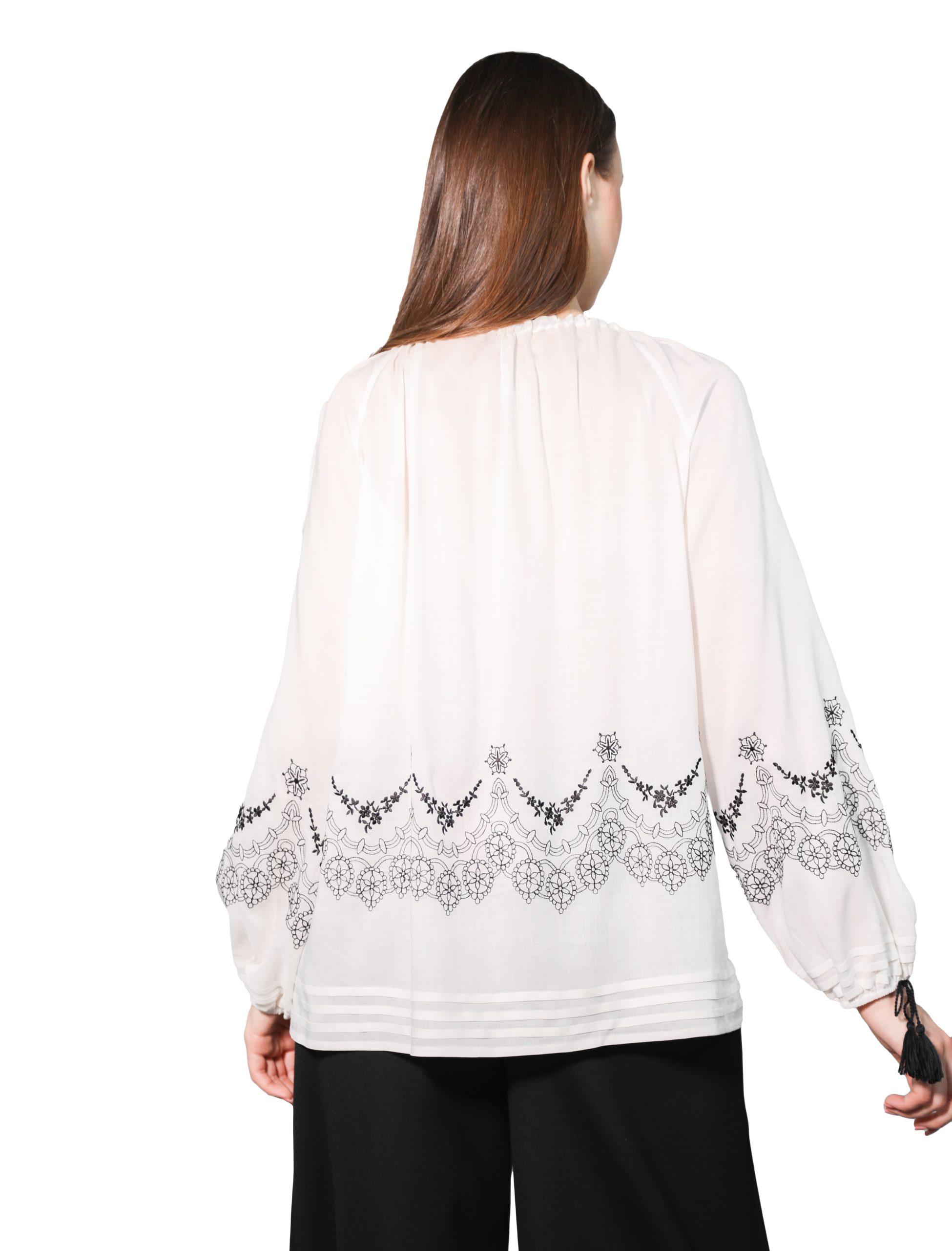 Блуза з вишивкою «Троянда ажур» (біла)