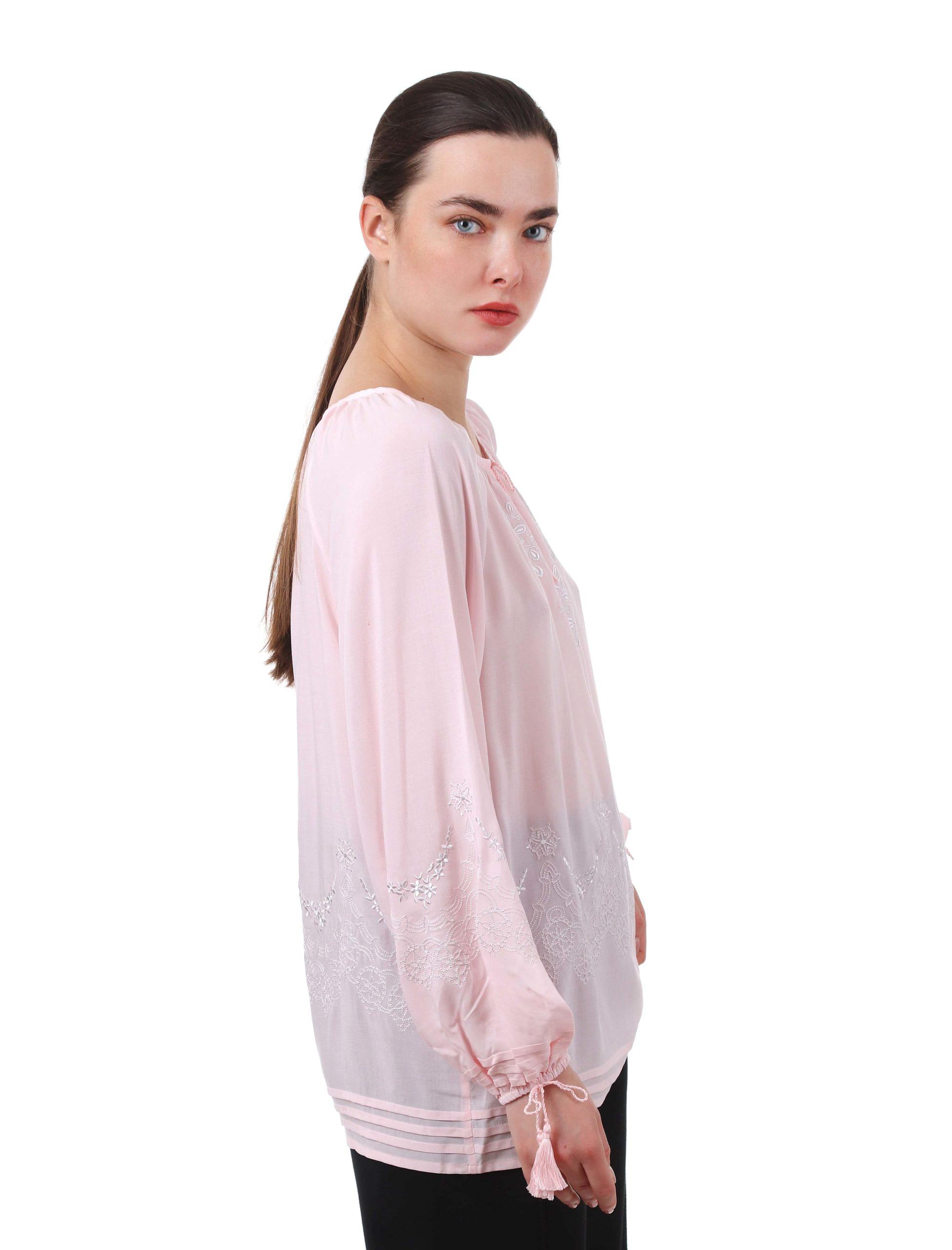 Блуза з вишивкою «Троянда ажур» (рожева)