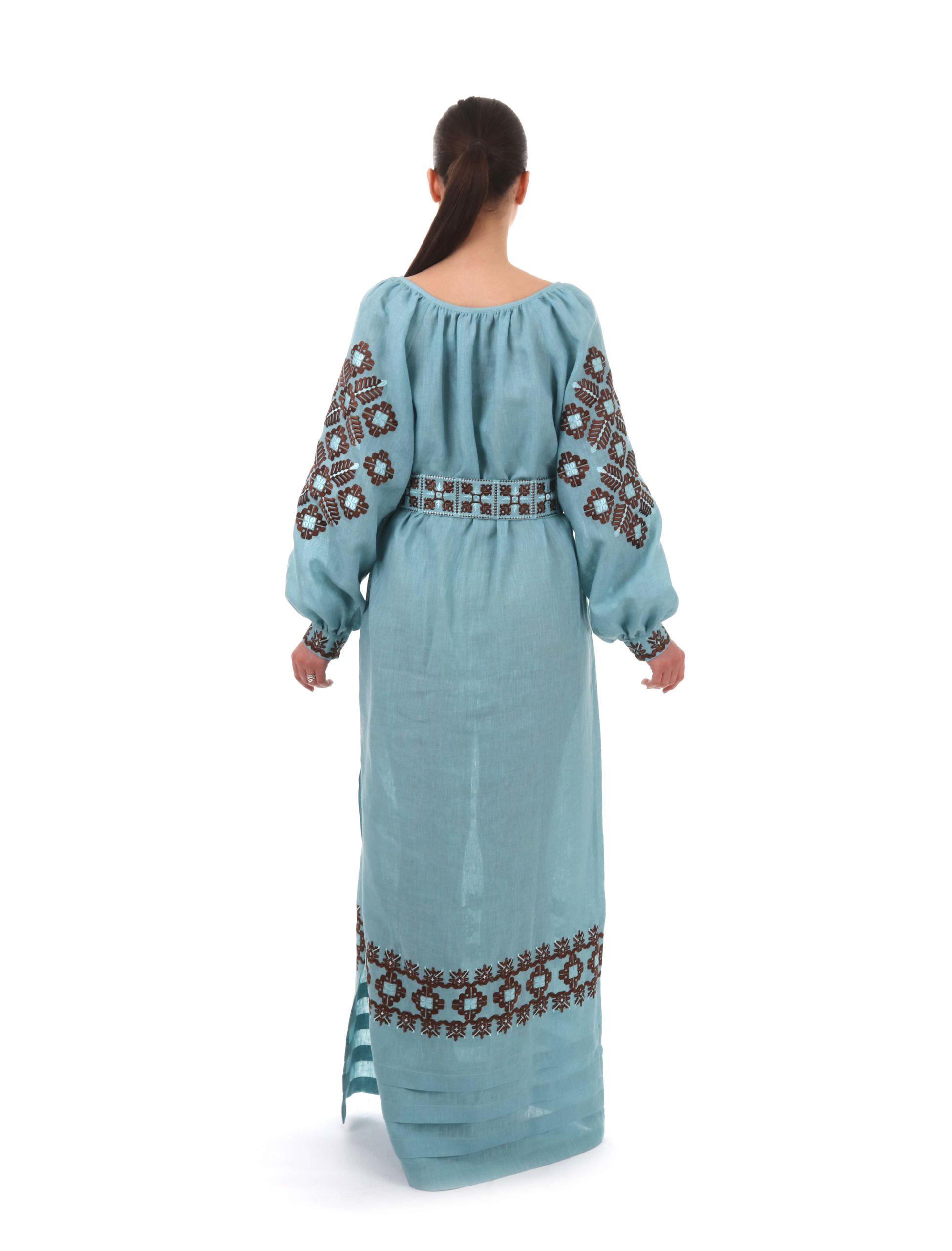 Сукня з вишивкою «Зіркове Поле» бірюзова