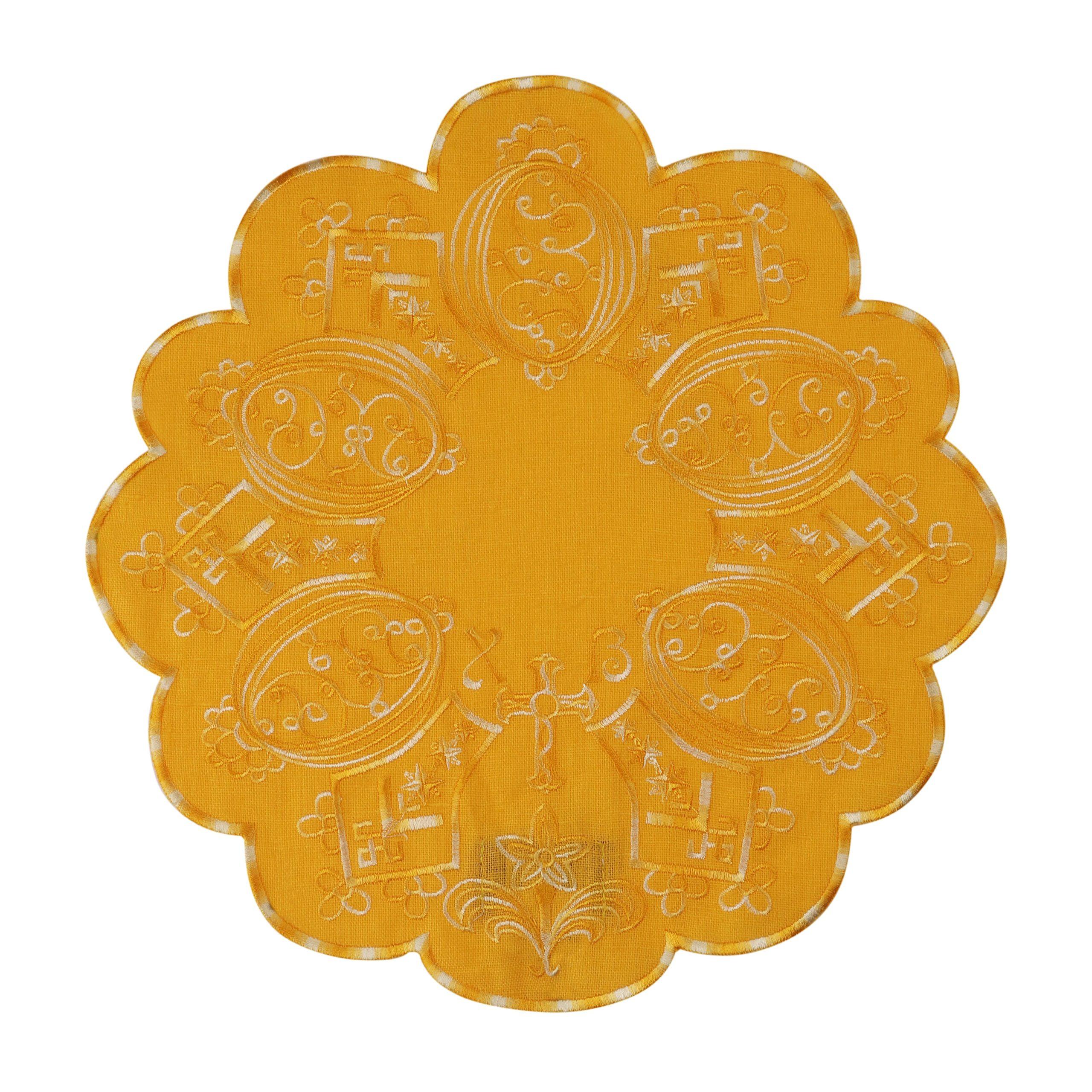 Серветка пасхальна жовта кругла