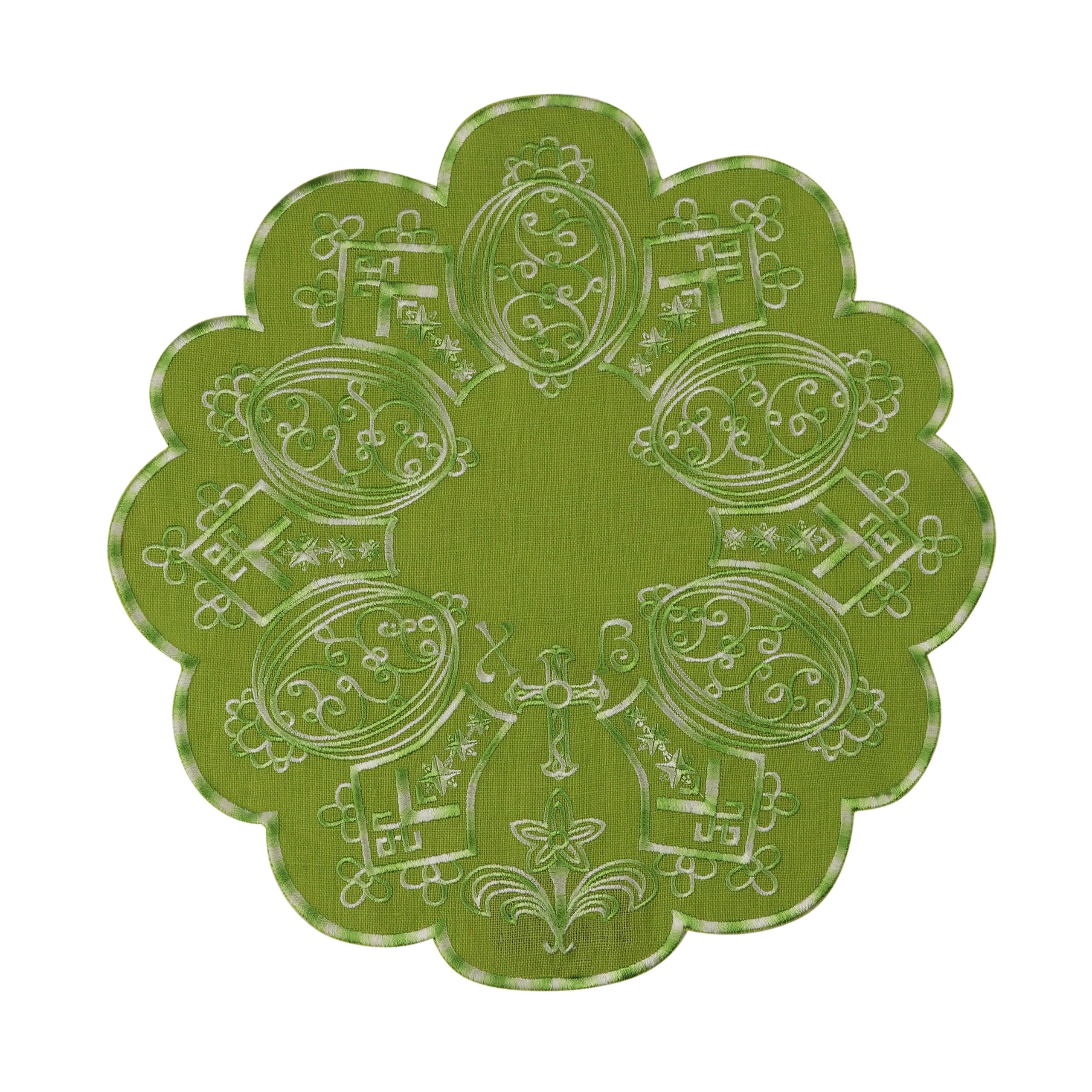 Серветка пасхальна зелена кругла