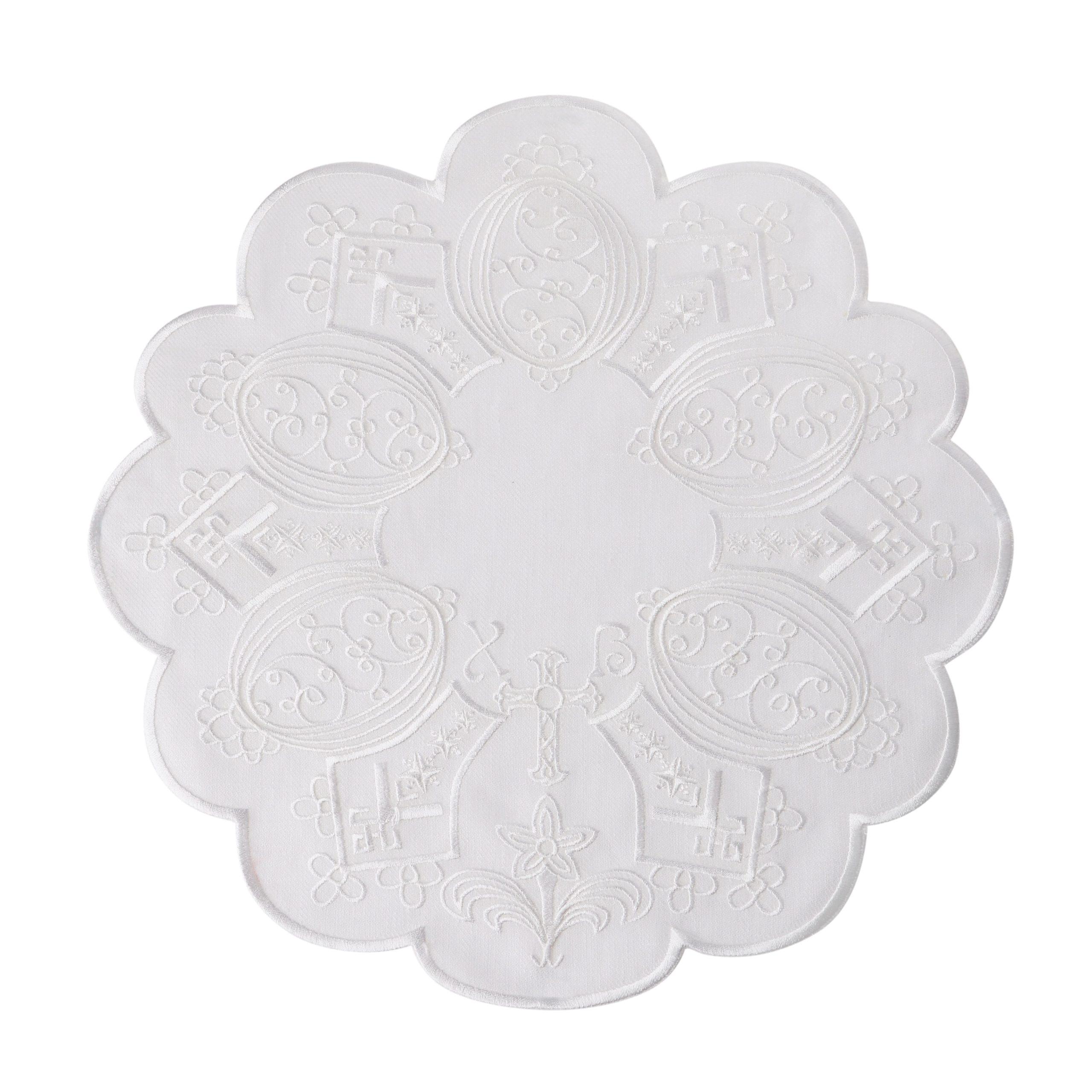 Серветка пасхальна біла кругла
